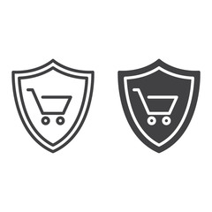 Shield with shopping cart line and solid icon, outline and filled vector sign, linear and full pictogram isolated on white. Buyer Protection symbol, logo illustration