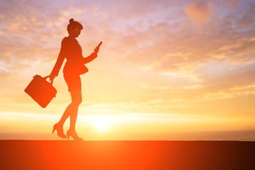 silhouette of businesswoman
