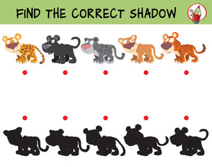 Big cats. Leopard, panther, snow leopard, puma, tiger. Find the correct shadow. Educational game for children. Cartoon vector illustration.