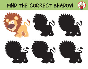 Big cats. Lion. Find the correct shadow. Educational game for children. Cartoon vector illustration.