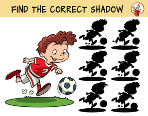 Football player running with the ball. Find the correct shadow. Educational game for children. Cartoon vector illustration.