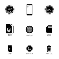 Smartphone specification flat icons. Gadget description. Icons set vector