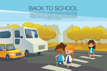 Multiracial kids walking across pedestrian crossing in front of stopped cars against autumn trees on background. Road safety rules for school children concept. Vector illustration for poster, flyer.