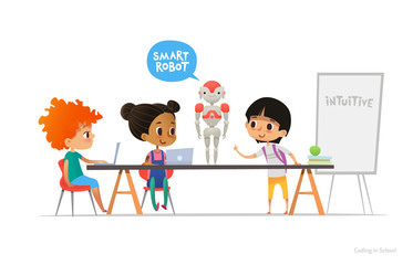 Smiling children sitting at laptops around smart robot standing on table in school classroom. Robotics and programming for kids concept. Vector illustration for website, advertisement, poster, banner.