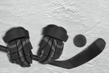 Hockey Accessories on Ice