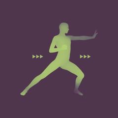 Fighter. Sports concept. 3D Model of Man. Sport Symbol. Design Element.