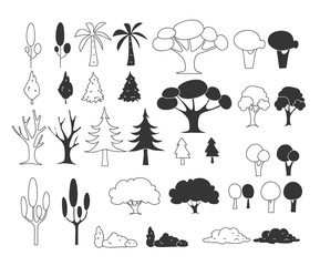 tree hand drawn cute line art doodle vector set illustration