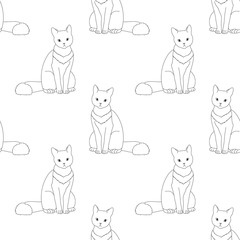 Black and white seamless pattern with cat.