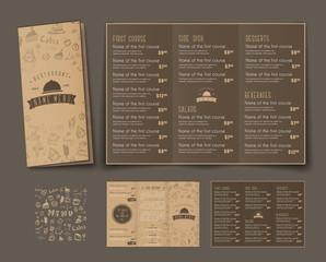 Template of  retro folding triple menu for cafes and restaurants.