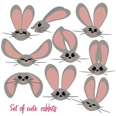 A set of funny little rabbits. The cute characters. Collection of hares.
