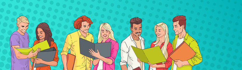 Young People Group Students Reading Over Pop Art Colorful Retro Background Vector Illustration