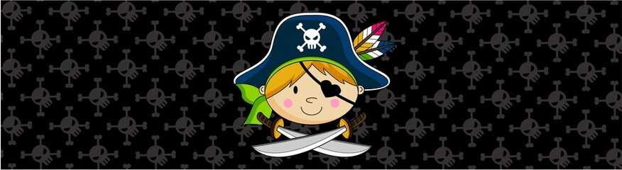 Cartoon Pirate Captain Banner