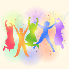 Colorful silhouettes of happy children dancing and jumping at the party. Vector illustration