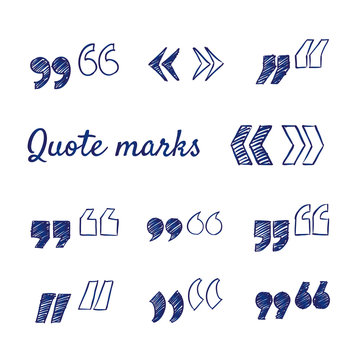 Doodle set of quote marks - quotes icon set, hand-drawn. Vector sketch illustration isolated over white background. Vintage