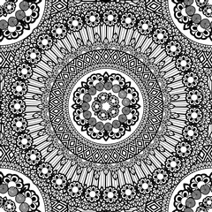 Flower Mandala seamless pattern background. Oriental pattern, vintage decorative elements. Islam, Arabic, Indian, moroccan, turkish, ottoman motifs. Coloring page Black and white vector illustration