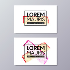 Make-up or fashion and beauty industry business card vector templates. Red and gold brush textured crossed smears in frame.