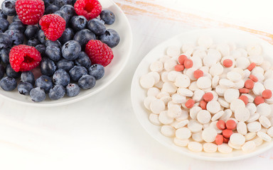 Pills or fresh berries. Choice from sources of vitamins.