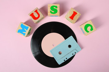 cassette and vinyl record