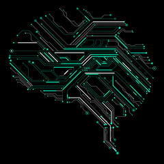 Circuit board composed of brain graphics.