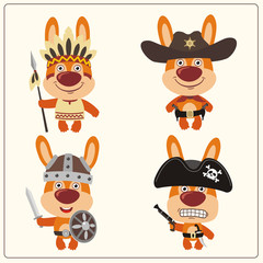 Funny bunny rabbit in costume of viking, american indian, cowboy and pirate. Set isolated bunny rabbit in cartoon style.