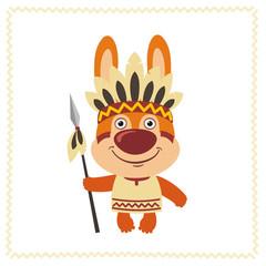Funny bunny rabbit in costume of american Indian with spear. Indian bunny rabbit in cartoon style.