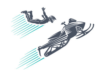 Snowmobile jumping. Sport emblem