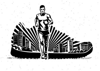 Marathon. Vector sport illustration in the engraving style.
