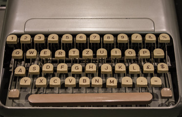 The fragment of an old and vintage typewriter