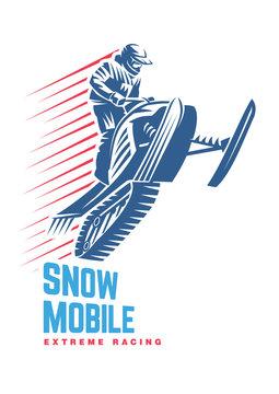 Extreme winter sport. Snowmobile. Sport emblem