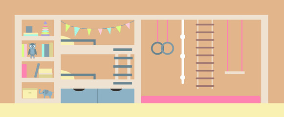 Vector illustration. Interior of the children's room.
