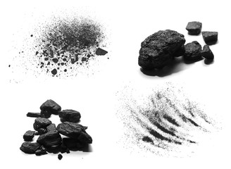 Set pile black coal isolated on white background