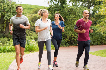Group of mature people jogging