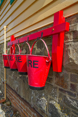 Fire buckets at SIgnal Box, Instow, Devon