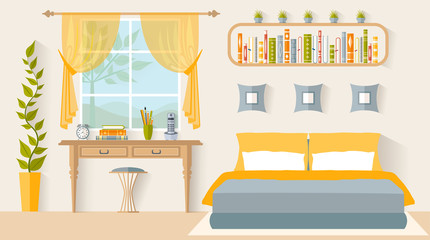 Bedroom with a workplace next to the window. Interior design studio. Vector illustration in flat style.