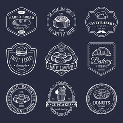 Vector set of vintage bakery logos. Retro emblems collection with sweet biscuit, cupcake etc. Hipster pastry icons.