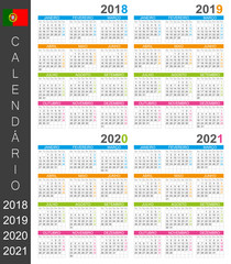 Calendar 2018 2019 2020 2021 / Portuguese calendar template for years 2018, 2019, 2020, 2021, week starts on Monday
