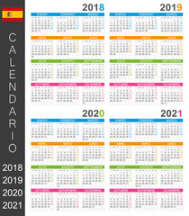 Calendar 2018 2019 2020 2021 / Spanish calendar template for years 2018-2021 week starts on Monday