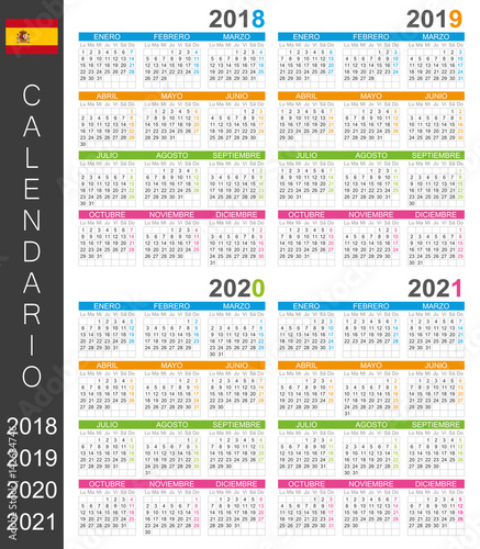 calendar 2018 2019 2020 2021 spanish calendar template for years 2018 2021 week starts