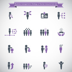 Business management, training, strategy or human resource icon set.