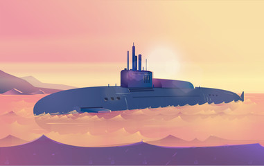 Vector Submarine Illustration