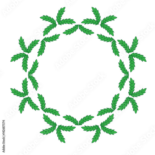 Isolated green leaf frames on the white background\