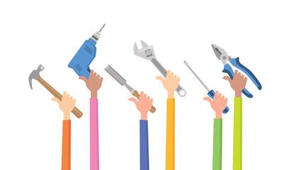 carpenter construction tools for home repair labour flat vector illustration