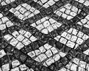 Black and White cobblestone street