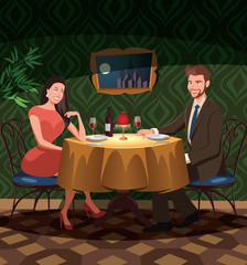 Two lovers on date  in a restaurant