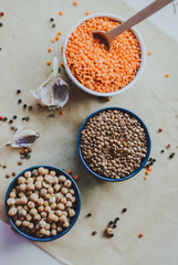 variety of bean seeds in a bowl. On rustic background.