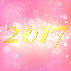 Happy New Year 2017 on pink abstract background. Elegant layout desing with magic glitter sparkles