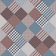 Seamless patchwork pattern. Vector illustration of quilt in dark tones.