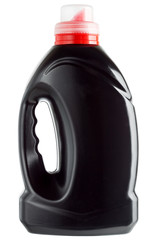 Plastic bottle black color with a red measured cover.