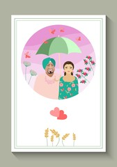 Wedding invitation or greeting card with cute loving couple under and umbrella. Vector illustration. Valentines day.