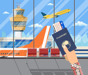 Man with passport and boarding pass